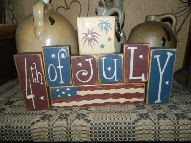 4TH OF JULY FLAG PRIMITIVE AMERICANA BLOCK SIGN SIGNS
