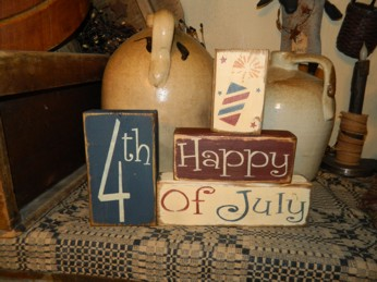 HAPPY 4TH OF JULY PRIMITIVE AMERICANA BLOCK SIGN SIGNS