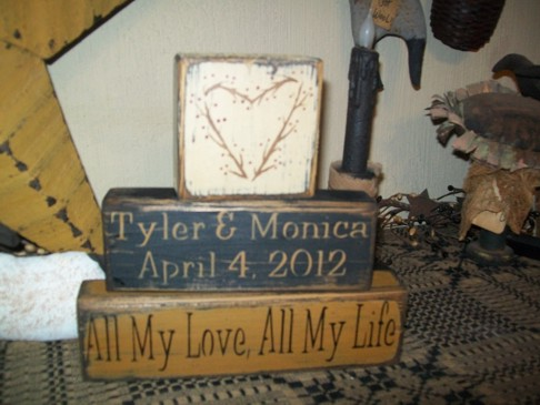 CUSTOM NAMES & DATE ALL MY LOVE ALL MY LIFE PRIMITVE BLOCK SIGN SIGNS