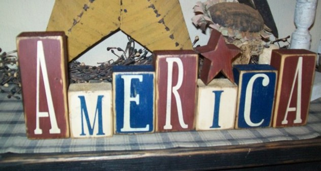 AMERICA STAR PRIMITIVE BLOCK SIGN SIGNS