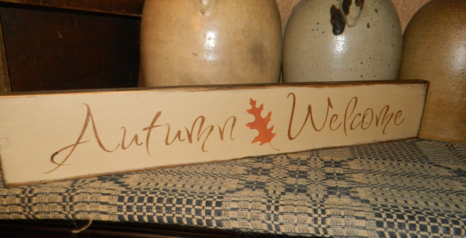 AUTUMN WELCOME PRIMITIVE SIGN SIGNS