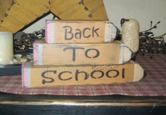 BACK TO SCHOOL PENCIL PRIMITIVE BLOCK SIGN SIGNS