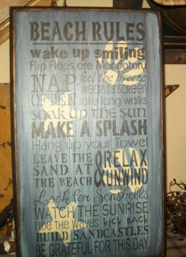 #2567 BEACH RULES PRIMITIVE SIGNS SIGN