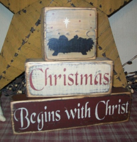 CHRISTMAS BEGINS WITH CHRIST PRIMITIVE BLOCK SIGN SIGNS