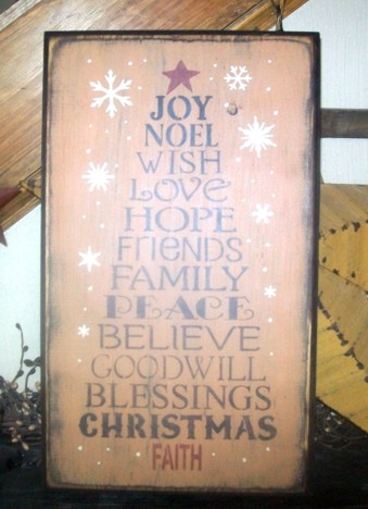TYPOGRAPHY CHRISTMAS TREE 2 PRIMITIVE SIGN SIGNS