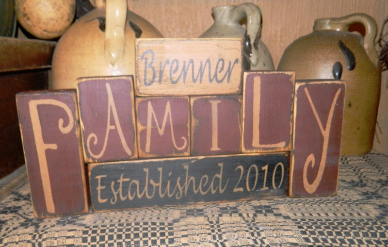 CUSTOM FAMILY NAME PRIMITVE BLOCK SIGN SIGNS