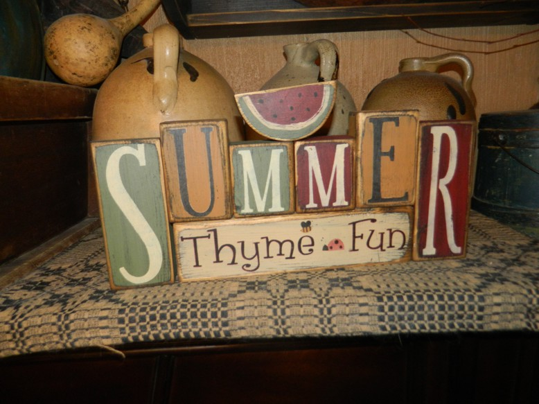 SUMMER THYME FUN WATERMELON PRIMITIVE BLOCK SIGN SIGNS