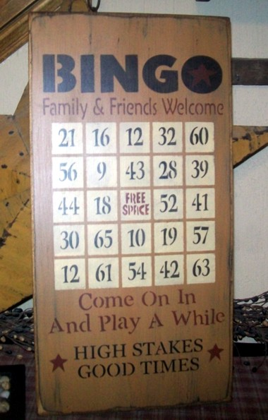 BINGO PRIMITIVE GAME BOARD SIGN