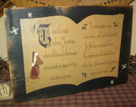 TWAS THE NIGHT BEFORE CHRISTMAS  BOOK PRIMITIVE SIGN SIGNS