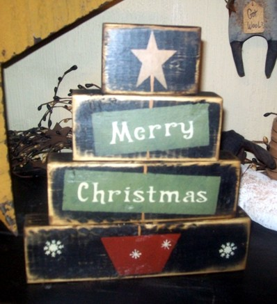 MERRY CHRISTMAS TREE 2 PRIMITIVE BLOCK SIGN SIGNS