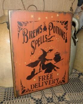 BREWS POTIONS SPELLS FREE DELIVERY PRIMITIVE SIGN SIGNS
