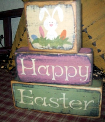 #1561 HAPPY EASTER BUNNY EGGS PRIMITIVE EASTER BLOCK SIGNS SIGN
