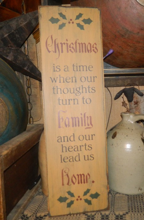 CHRISTMAS FAMILY HOME PRIMITIVE CHRISTMAS SIGN SIGNS