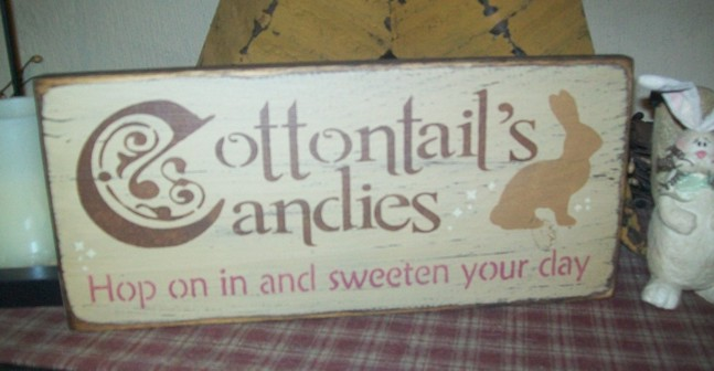 COTTONTAIL'S CANDIES PRIMITIVE EASTER SIGN SIGNS
