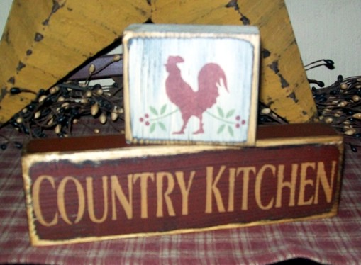 COUNTRY KITCHEN PRIMITIVE BLOCK SIGN SIGNS