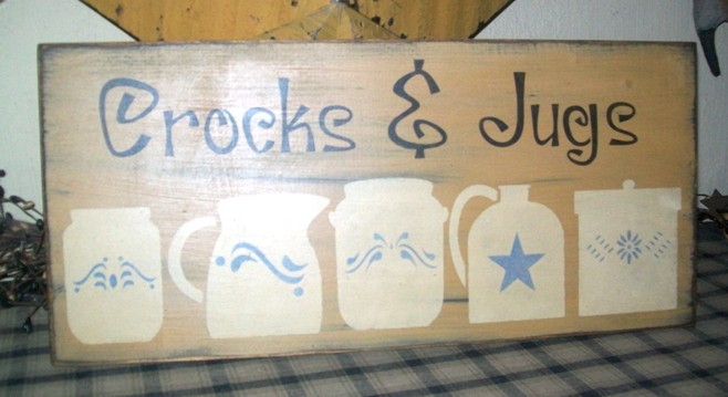 CROCKS & JUGS  PRIMITIVE SIGN SIGNS