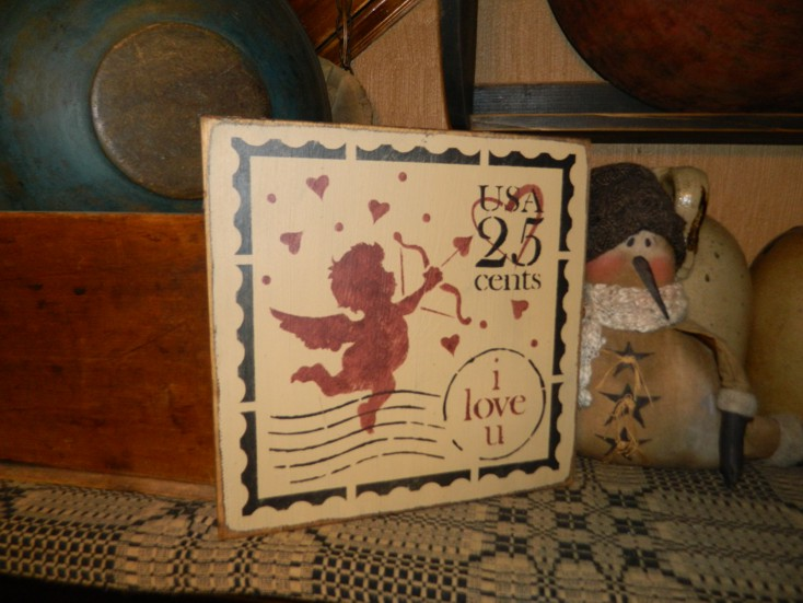VALENTINE STAMP CUPID PRIMITIVE SIGN SIGNS