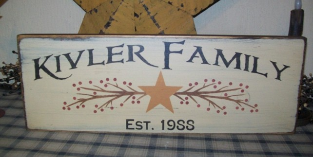CUSTOM FAMILY EST. STAR BERRIES PRIMITIVE SIGN SIGNS