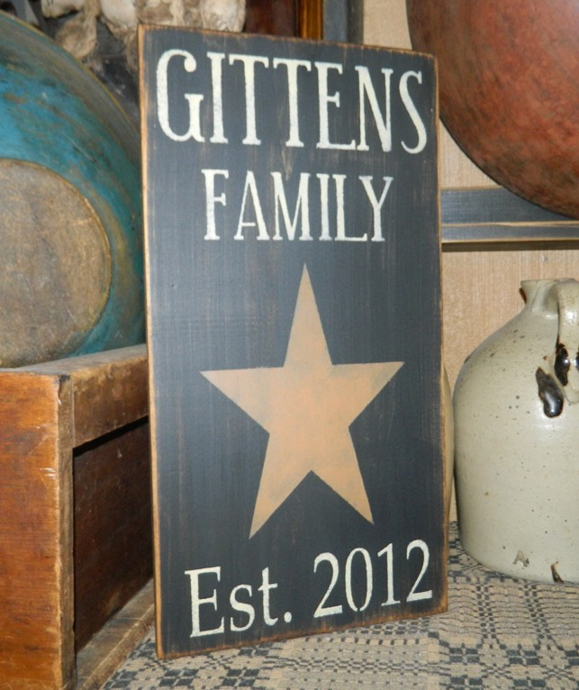 CUSTOM FAMILY STAR PRIMITIVE SIGN SIGNS