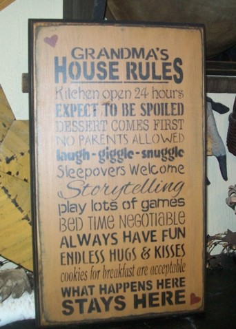 CUSTOM GRANDPARENTS RULES TYPOGRAPHY PRIMITIVE SIGN SIGNS