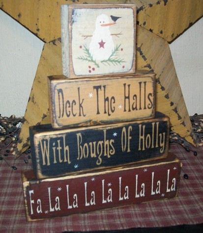 DECK THE HALLS PRIMITIVE BLOCK SIGN SIGNS