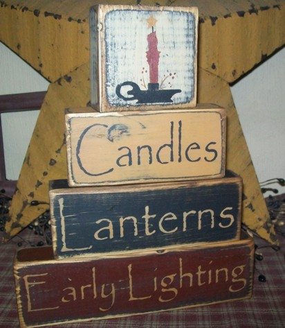 CANDLES LANTERNS EARLY LIGHTING PRIMITIVE BLOCK SIGN SIGNS