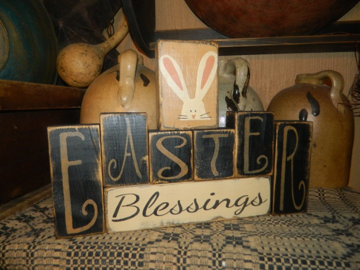 EASTER BLESSINGS BUNNY PRIMITIVE BLOCK SIGN SIGNS