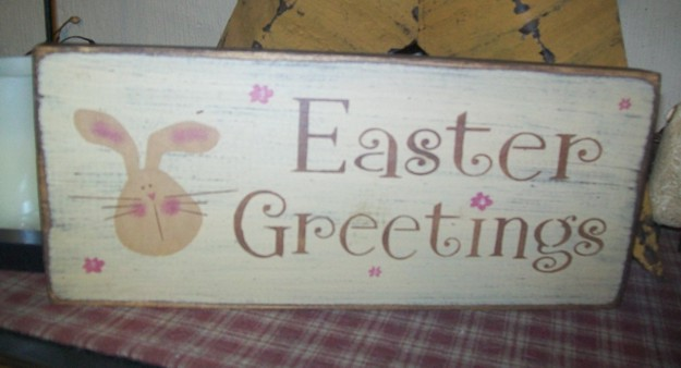 EASTER GREETINGS PRIMITIVE EASTER SIGN SIGNS