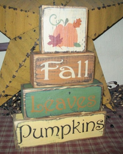 FALL LEAVES PUMPKINS PRIMITIVE BLOCK SIGN SIGNS