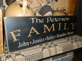 CUSTOM FAMILY NAME  PRIMITIVE CUSTOM SIGN SIGNS