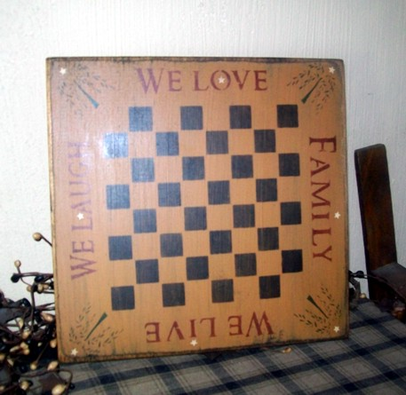 FAMILY WE LIVE LOVE LAUGH PRIMITIVE GAME BOARD SIGN SIGNS