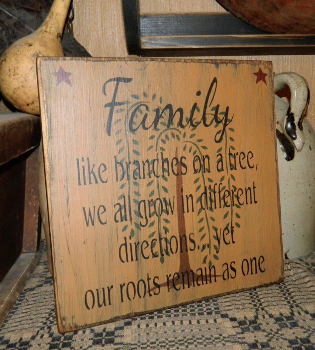 FAMILY BRANCHES WILLOW TREE PRIMITIVE SIGN SIGNS
