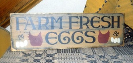 FARM FRESH EGGS PRIMITIVE SIGN SIGNS