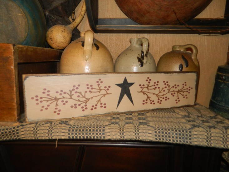 STAR VINE BERRY PRIMITIVE SIGN SIGNS