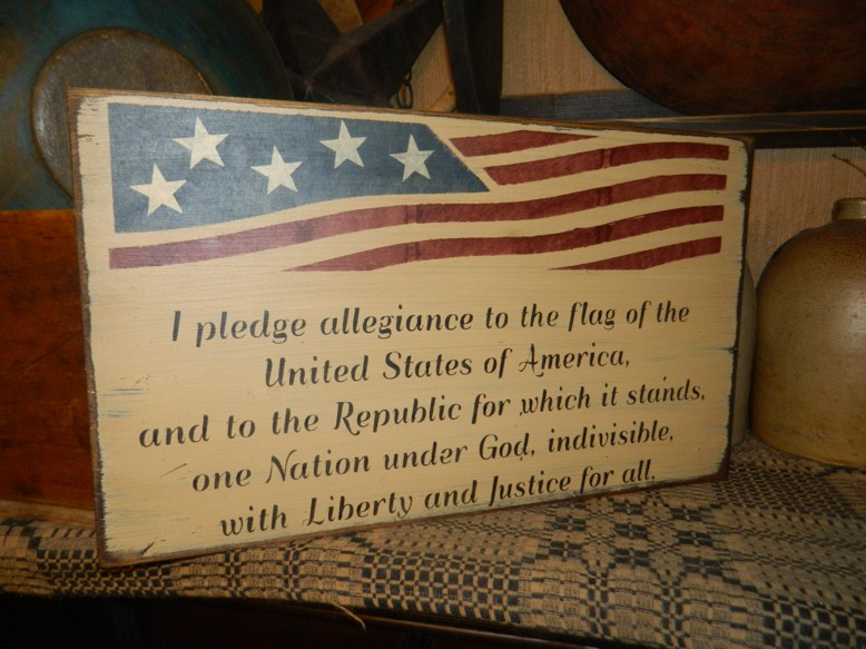 FLAG PLEDGE ALLIGENCE PRIMITIVE SIGNS SIGN