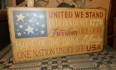 UNITED WE STAND TYPOGRAPHY FLAG PRIMITIVE SIGN SIGNS