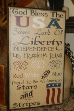 #3952 GOD BLESS USA AMERICA TYPOGRAPHY PRIMITIVE SIGNS SIGN