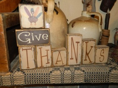 GIVE THANKS TURKEY PRIMITIVE BLOCK SIGN SIGNS