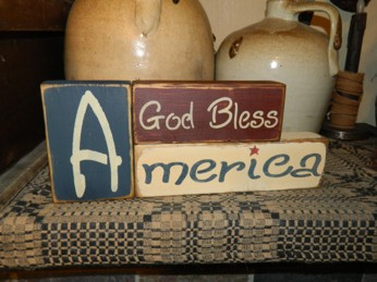 GOD BLESS AMERICA FLAG PRIMITIVE AMERICANA BLOCK SIGN SIGNS