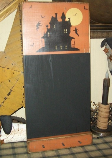 HAUNTED HOUSE CHALKBOARD PRIMITIVE SIGN SIGNS