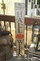 #8004 LARGE HAPPY HALLOWEEN  VERTICAL PUMPKIN PRIMITIVE SIGN SIGNS