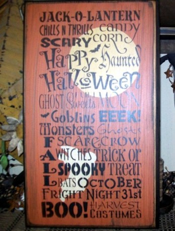 HALLOWEEN TYPOGRAPHY PRIMITIVE SIGN SIGNS