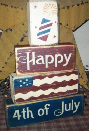 HAPPY 4TH OF JULY  FLAG  FIREWORKS PRIMITIVE BLOCK SIGN SIGNS