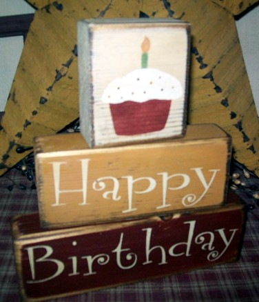 HAPPY BIRTHDAY PRIMITIVE BLOCK SIGN SIGNS