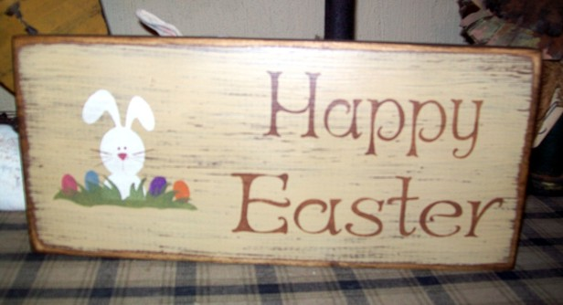 HAPPY EASTER PRIMITIVE EASTER SIGN SIGNS