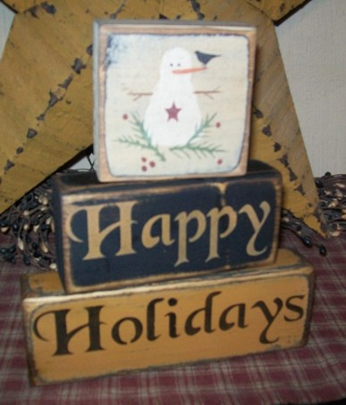 HAPPY HOLIDAYS PRIMITIVE BLOCK SIGN SIGNS