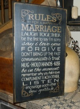 RULES FOR A HAPPY MARRIAGE PRIMITIVE SIGNS SIGN