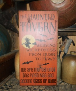 THE HAUNTED TAVERN WITCH PRIMITIVE SIGN SIGNS
