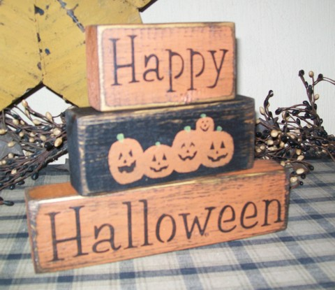 HAPPY HALLOWEEN PRIMITIVE BLOCK SIGN SIGNS