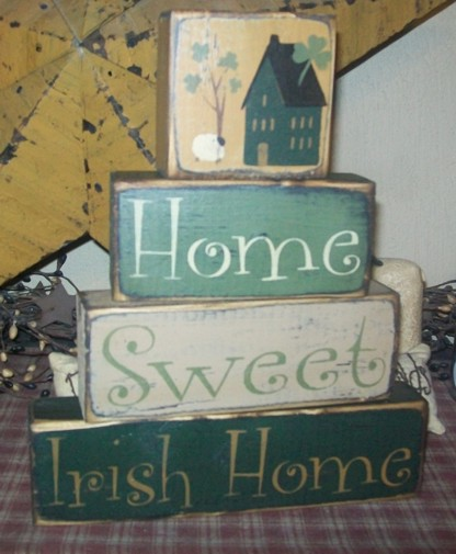 HOME SWEET IRISH HOME PRIMITIVE IRISH BLOCK SIGN SIGNS